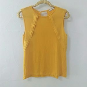 Zara Yellow Ruffle Sleeveless Tank Top